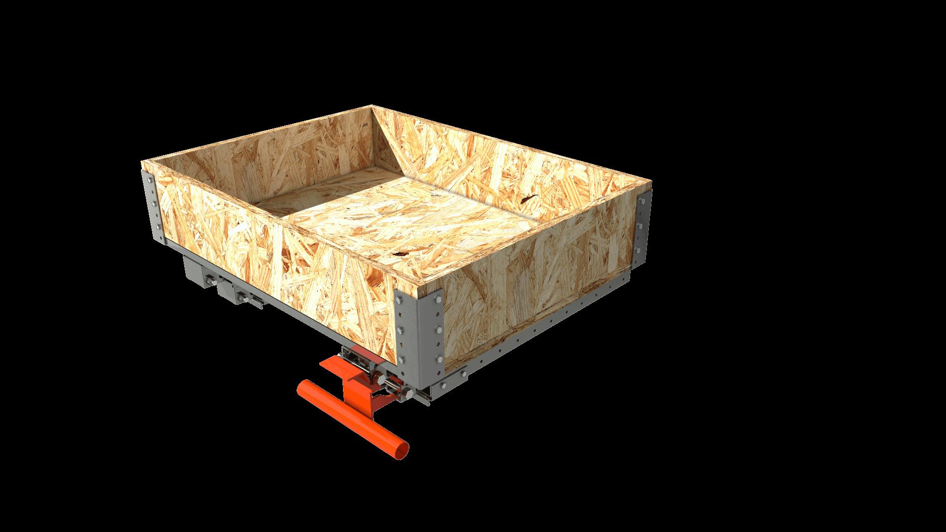 tiroir 800x600 mm - 100% - 500kg - sur lisse - plateau bois + caisse