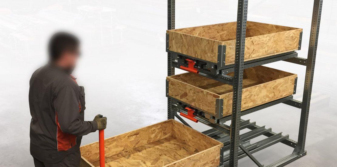 Stockeur 3P - Tiroirs STOCK3P à plateaux bois avec réhausses en bois – Ouverture 100 %
