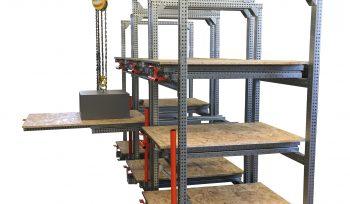Structure porteuse STOCK3P équipée d'un portique pour l'utilisation d'un palans