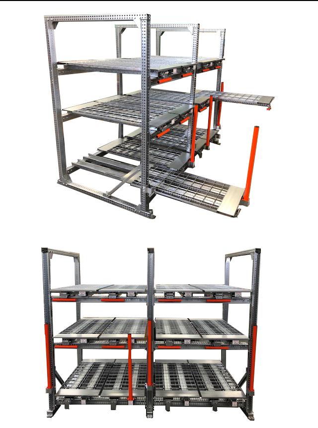 Structure porteuse STOCK3P équipée de tiroirs pour lisses hautes et pour lisses basses - Stockeur livré semi-assemblé.